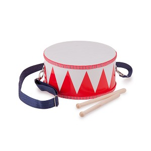 New Classic Toys - Wooden drum - red/white