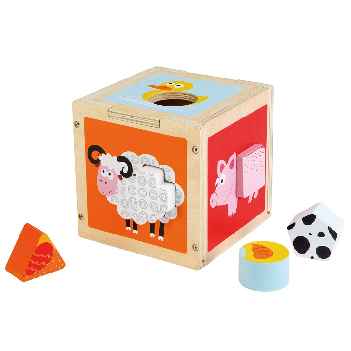 Lelin Toys - Shape Sorting Cube - Farm