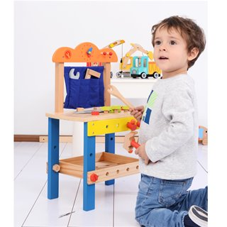 Lelin Toys - Wooden Workbench - Blue