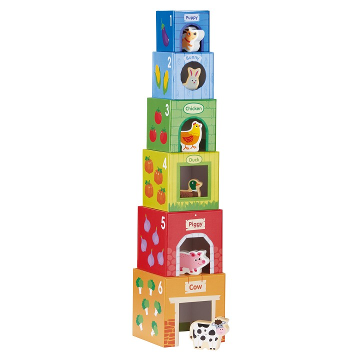 Lelin Toys - Stacking Cubes-6 Friends in Farm