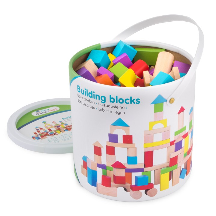 New Classic Toys - Building Blocks in a Drum - Colored - 100 pcs.