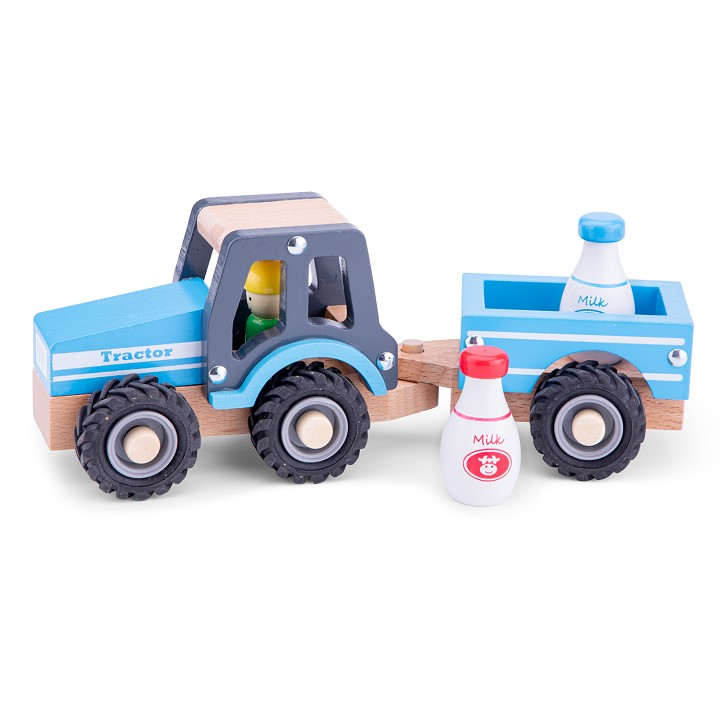 New Classic Toys - Tractor with Trailer - Milk Bottles