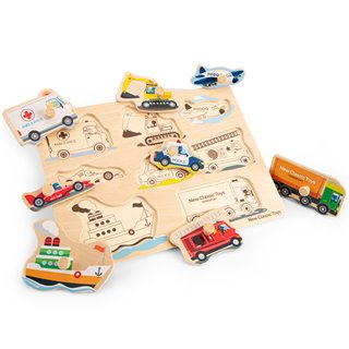 New Classic Toys - Peg Puzzle - Transport - 8 pieces - FSC® 100%-certified wood