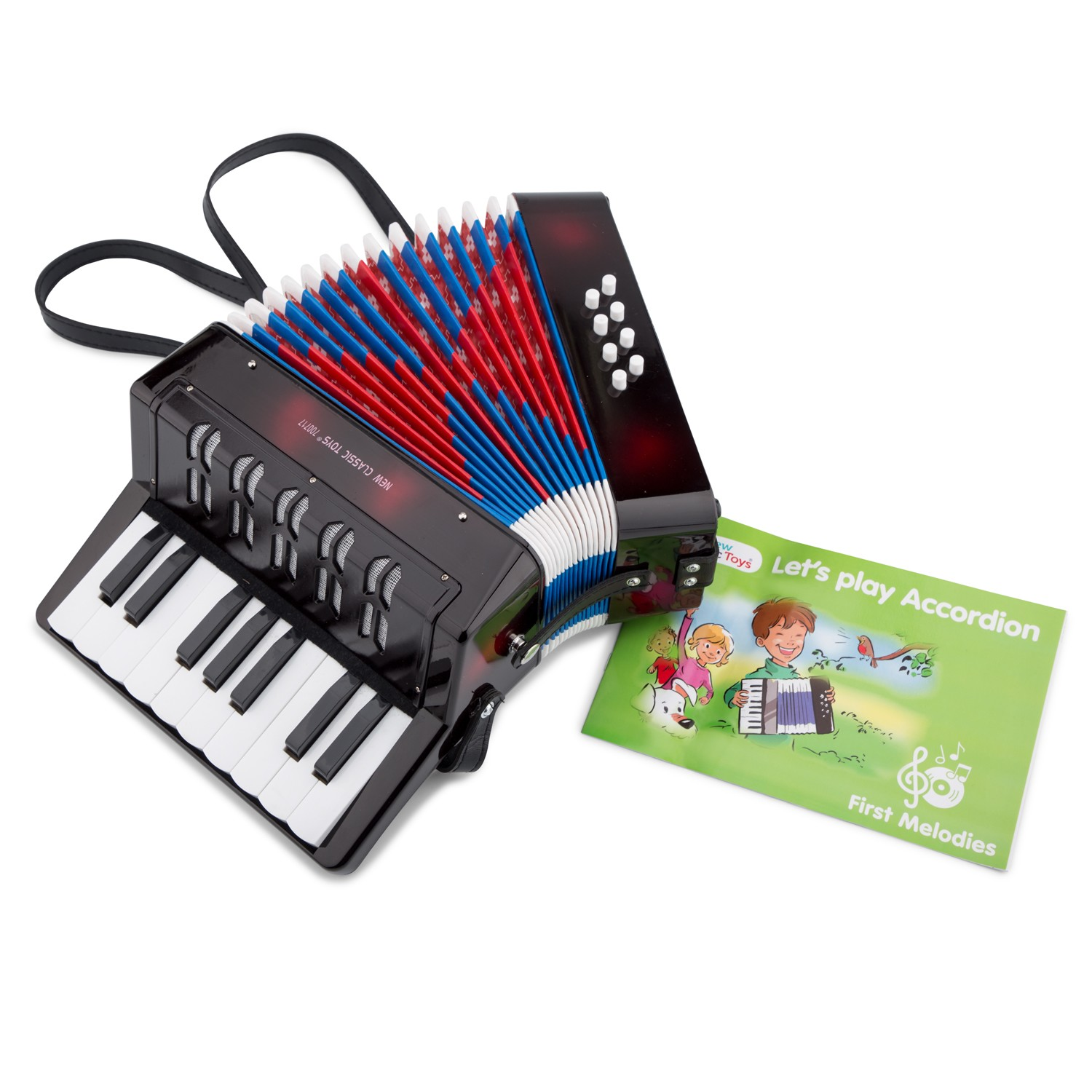 New Classic Toys - Accordion Black with Music Book | New