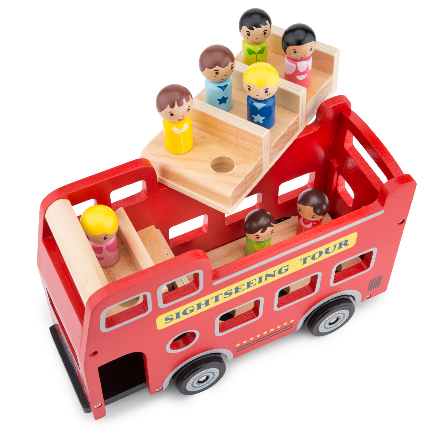Wooden Toy Cars >> New Classic Toys - City Tour Bus with 9 Play Figures | New ...
