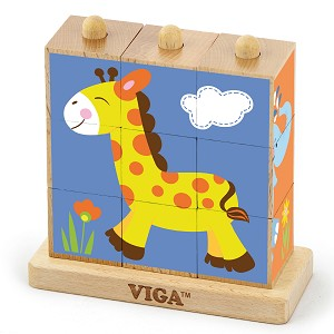 Viga Toys - Stacking cube puzzle - wild animals - 9pcs.