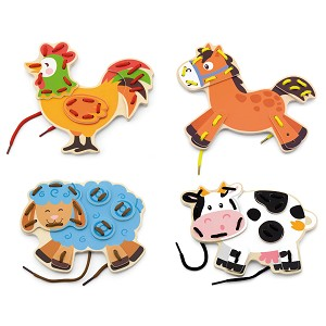 Viga Toys - Lacing farm animals