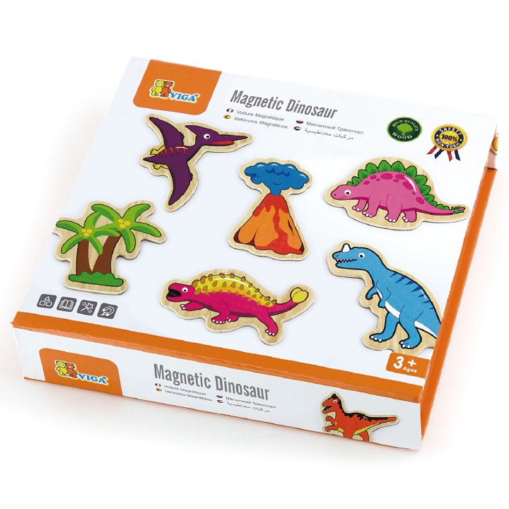 Viga Toys - Wooden Magnetic Dinosaurs - 20 pieces