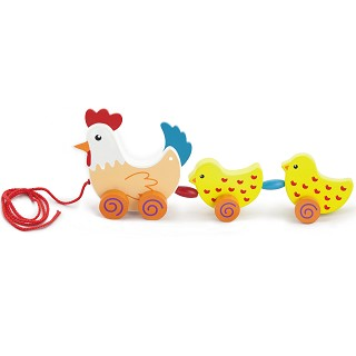 Viga Toys - Pull-Along - Hen & Two Chicks
