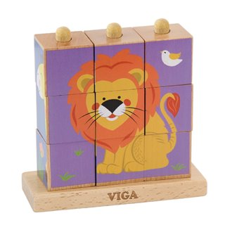Viga Toys - Stacking Cube Puzzle - Wild Animals - 9 pieces