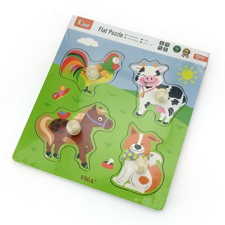 Viga Toys - Big Wooden Knob Puzzle - Farm Animals