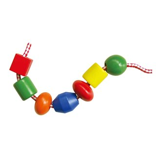 Viga Toys - Wooden Lacing Beads - 90 pieces and 5 cords