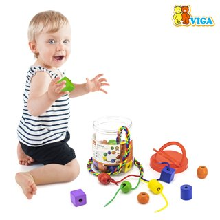 Viga Toys - Big Wooden Lacing Beads - 30 pieces and 4 cords
