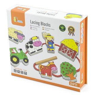 Viga Toys - Lacing Blocks - Farm