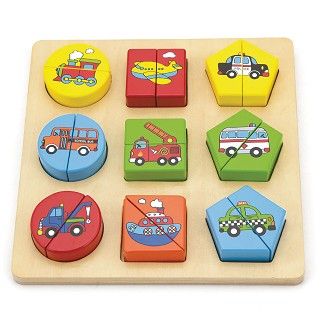 Viga Toys - Geometry Shape Sorting Puzzle - Vehicles