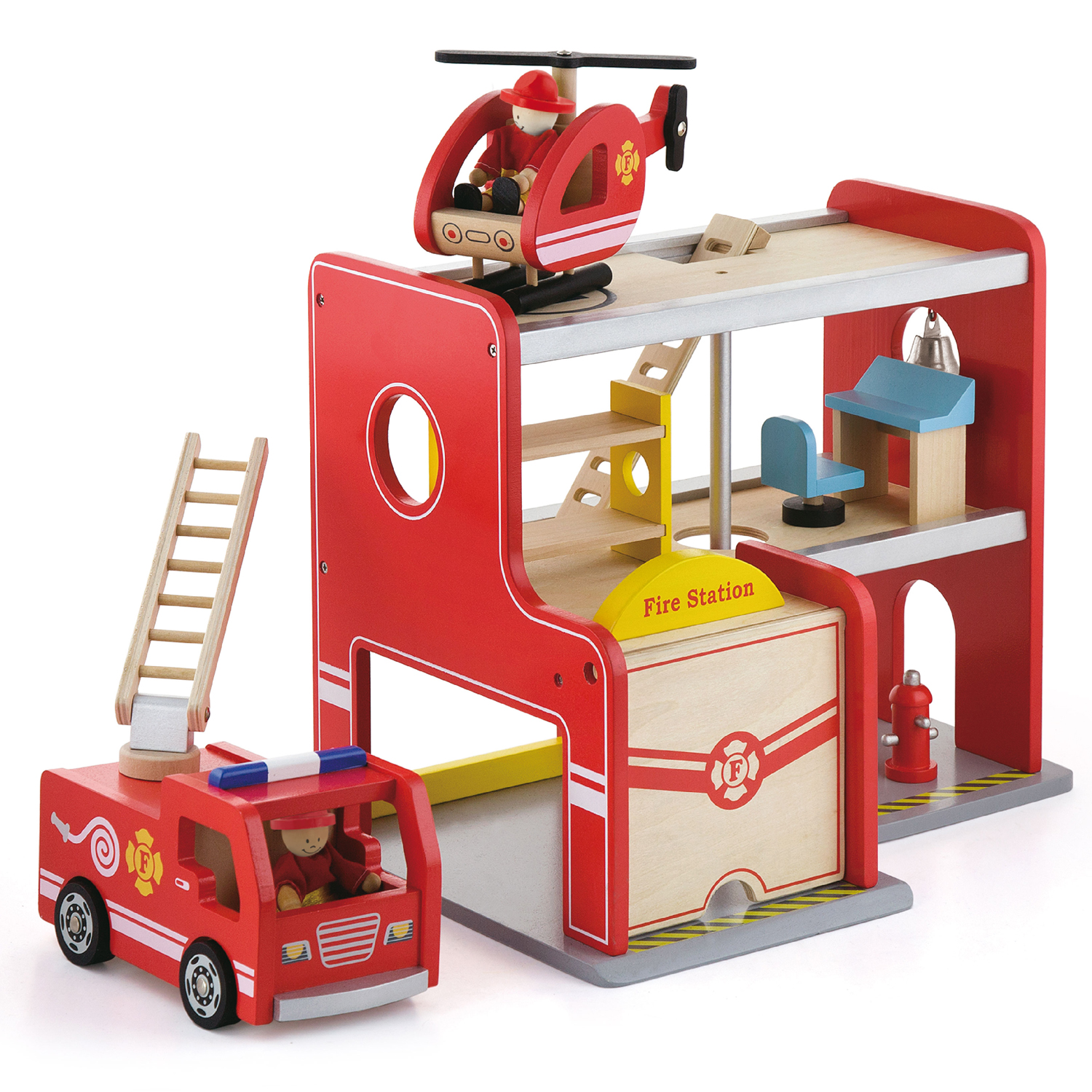 Viga Toys Wooden Fire Station New Classic Toys