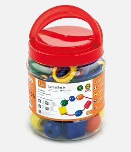 Viga Toys - Big wooden lacing beads - - 30 pcs. and 4 cords